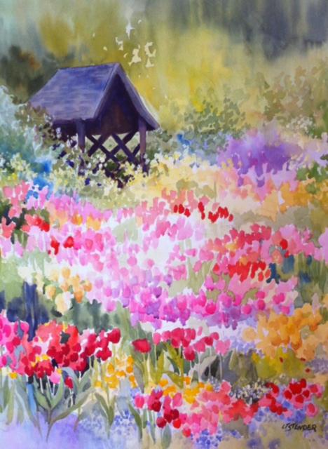 Spring Garden 20 x 30 Watercolor