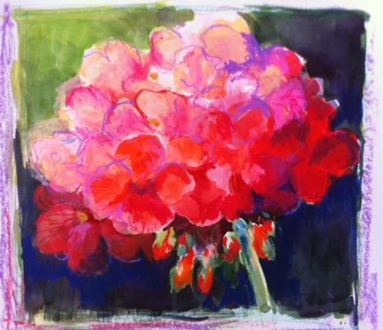 Geranium Bloom 20 x 20 Mixed Media