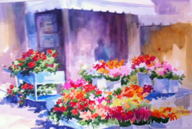 Flower Shop I, Cortona, Italy 18 x 20 Watercolor