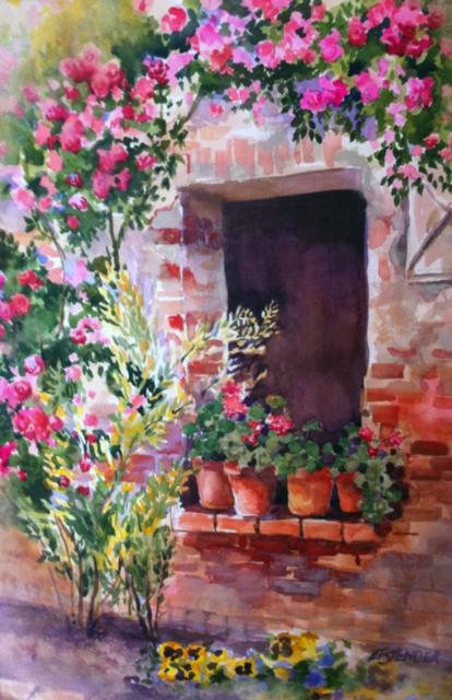Geraniums 20 x 30 Watercolor