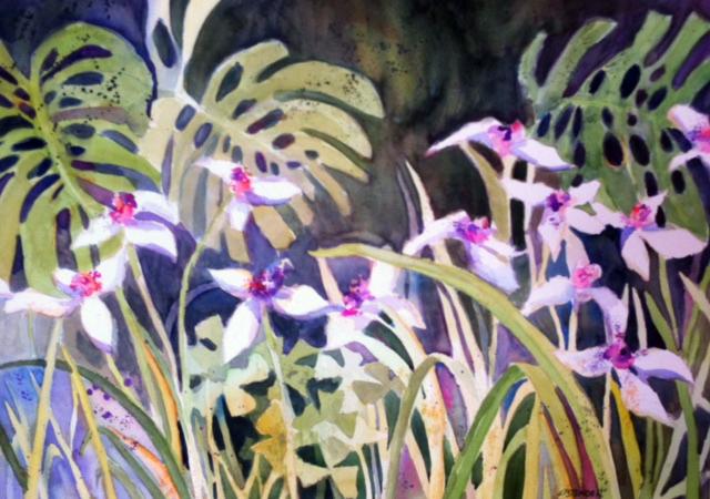 Jungle Blooms, Costa Rica 20 x30 Watercolor