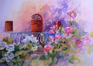 Rose Garden, Italy 20 x 30 Watercolor