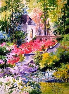 Azalea Garden 20 x 30 Watercolor