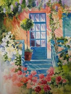 Monets Door, 20 x 30 Watercolor