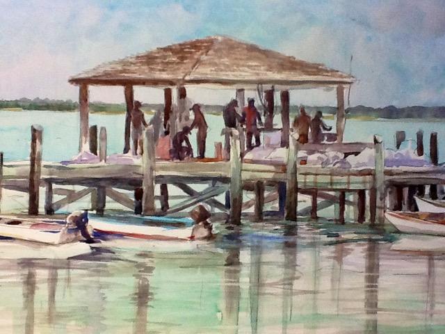 The Fishing Dock, Bahamas 20 x 30 Watercolor