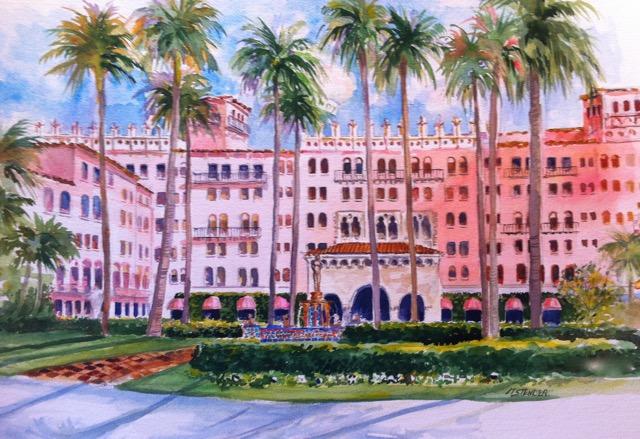 Boca Raton Resort , Cloister 20 x 24 Watercolor