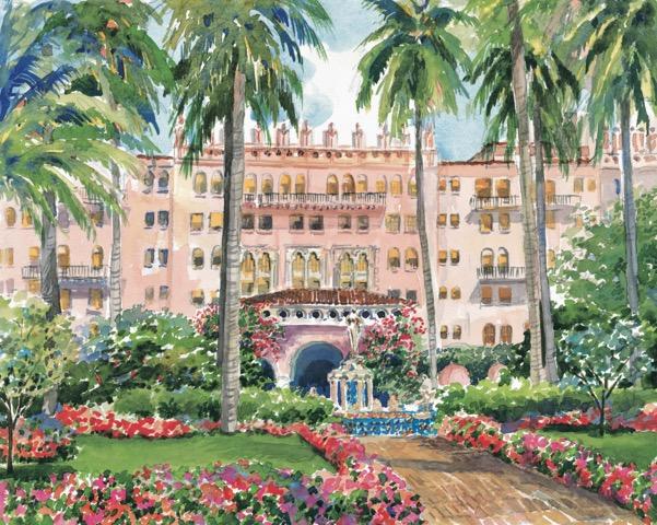 Boca Raton Resort, Fountain Front entrance, 20 x 30 Watercolor