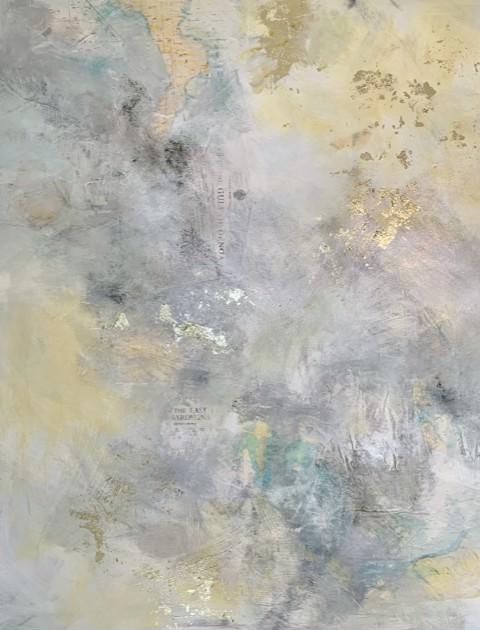 """Prosecco II""  Sardegna, Genoa, Italy.   40"" x 48""          Mixed media, paper, Oil, Acrylic, Gold Leaf on Canvas"