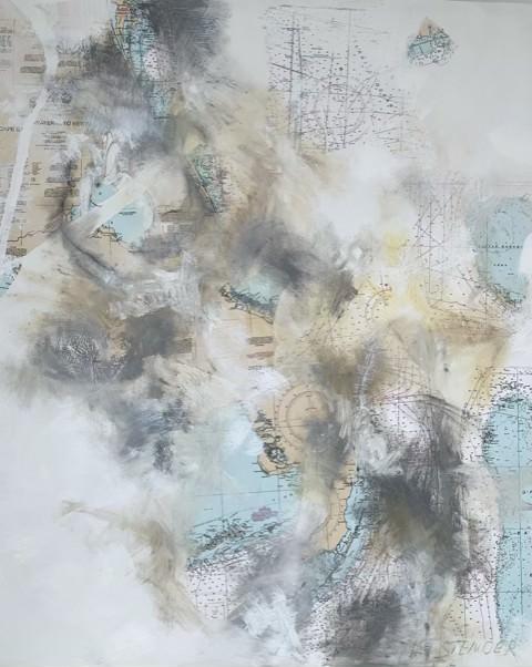 "Florida Straits""   Florida, and the Bahama's.   42"" x 50""         Mixed media, paper, oil, acrylic on Canvas"