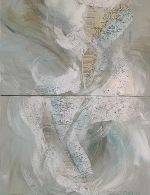 """Coastal Currents""     Florida, Georgia USA.     3' x 4'  Diptych.           Mixed media, oil, acrylic, paper on canvas"