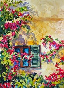 """""""Villa Window"""" Watercolour"""