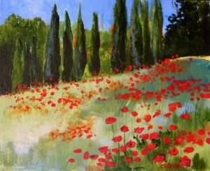 """""""Poppies, Tuscany"""" Acrylic"""