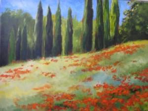 Poppies, Tuscany   20 x 30  Acrylic